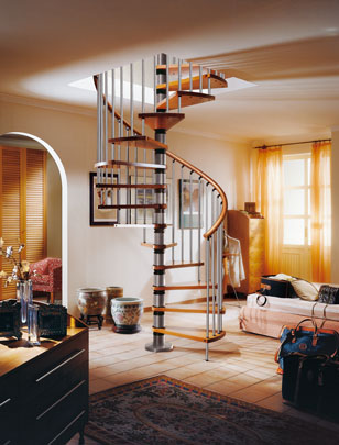 Gamia Wood Silver Grey Spiral stairs