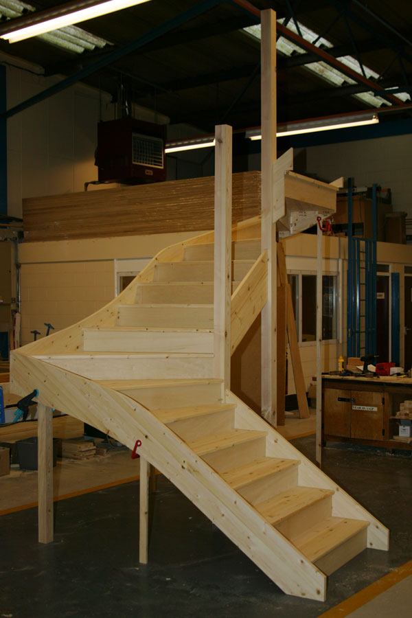 Pine Double winder staircases